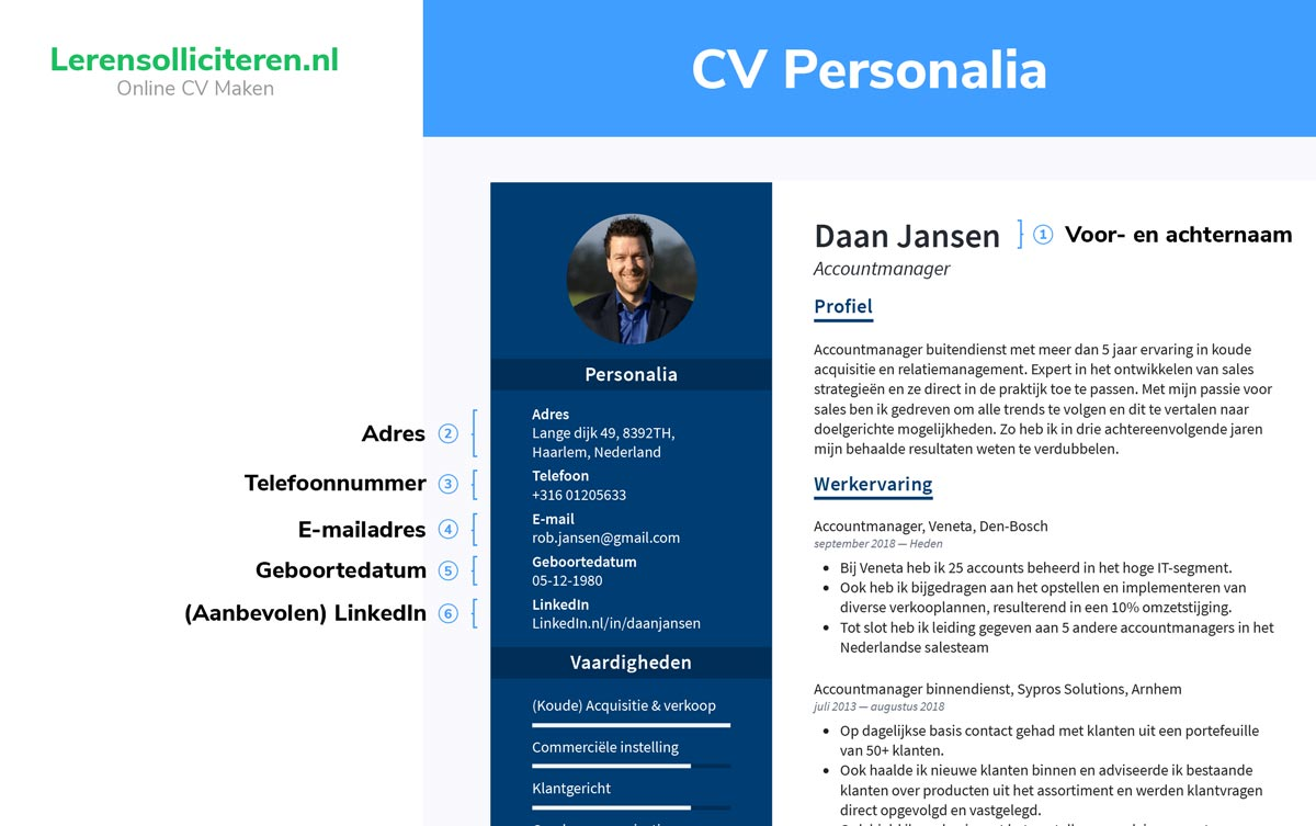 personalia cv